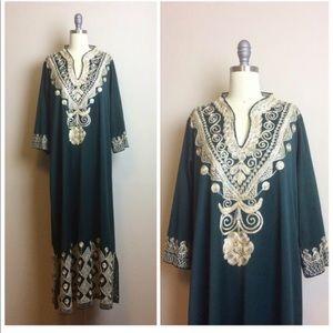 Vintage 1970s Green Gold Boho Embroidered Dress